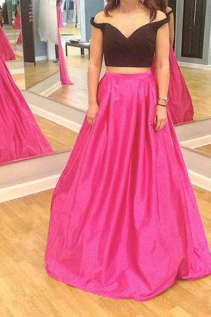Off Shoulder Prom Dresses,Hot Pink Prom Dress,Handmade Prom Gowns,Charming Evening Goens,Formal Dresses