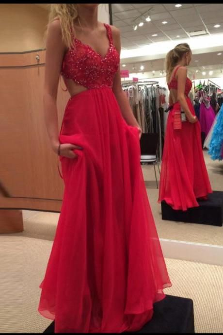 Real Sexy Charming Red Chiffon Beading Backless Long Prom Dresses