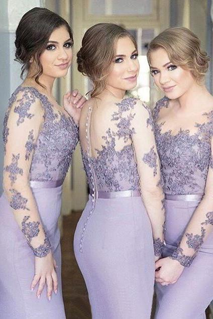 Custom Made Bridesmaid Dress, Scoop Lilac Bridesmaid Dress,Long Sleeves Bridesmaid Dresses,Mermaid Bridesmaid Dress,Wedding Party Dresses,Long Bridesmaid Dress,Bridesmaid Dresses,Charming Prom Dress