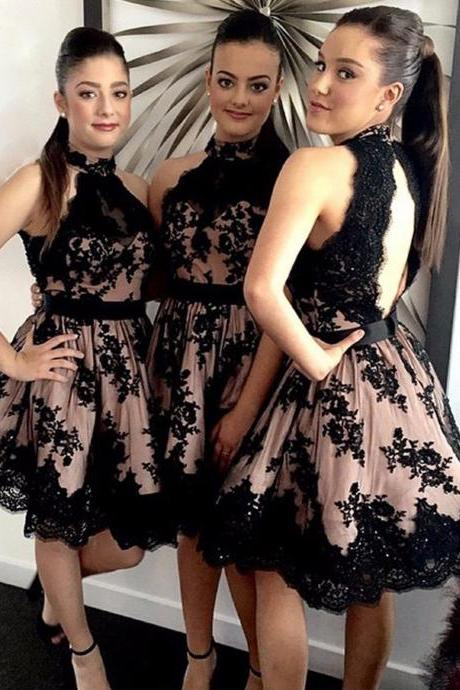 Sexy High Neck Lace Homecoming Dresses, Black Lace Homecoming Gowns, Short Party Dress, Short Prom Dress, Short Bridesmaid Dresses, Saucy Halter Pearl Pink Open Back Bridesmaid Dress with Black Lace Sash