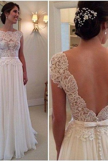 A-line Round Neckline Chiffon Lace Long Wedding Dresses, Wedding Gown, Lace Chiffon Backless A-line Wedding Dresses
