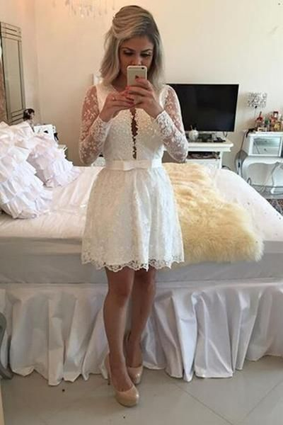 Lace Sleeve Strap Prom Dress, Lace Party Dresses, White Party Dress, Birthday Party Dress, Lace Homecoming Dresses, Graduation Dresses, Short Prom Dress, Long Sleeves Party Dress