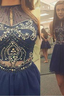 Homecoming Dress,High Neck Halter Navy Tulle Skirt Two Piece Prom Dress, Short Prom Dress, Short Homecoming Drssses