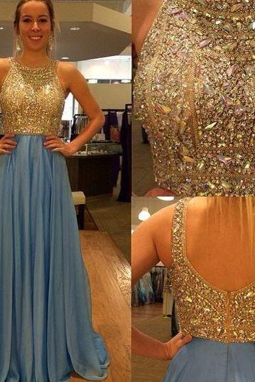 Modest Prom Dresses,A-Line Prom Dress,Beading Prom Dress,O-Neck Prom Dress, Chiffon Prom Dress,Beading Evening Gowns,2016 New Gowns For Teens