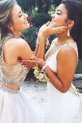 Custom Made Light Champagne 2 Pieces Long Prom Dress, Dresses for Prom, Senior Prom Dress