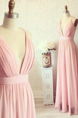 Pink Prom Dress,Deep V Neck Prom Dress,Spaghetti Prom Dress,Fashion Prom Dress,Sexy Party Dress, New Style Evening Dress