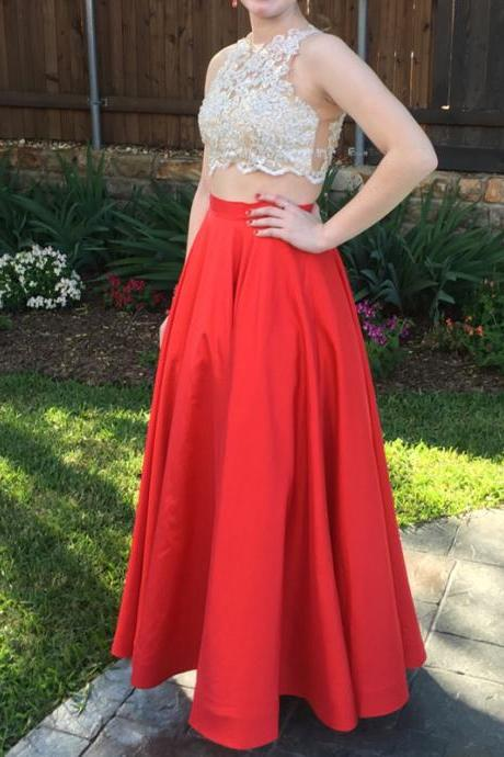 2 Piece Prom Gown,Two Piece Prom Dresses,Red Evening Gowns,2 Pieces Party Dresses,Chiffon Evening Gowns,Sparkle Formal Dress,Bling Formal Gowns For Teens