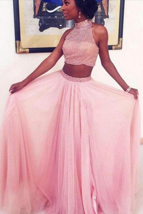 Long prom dresses,A Line Prom Dress,New Arrival Sexy Two Piece Evening Dress,2 Pieces Prom Dress,Backless Prom Dresses