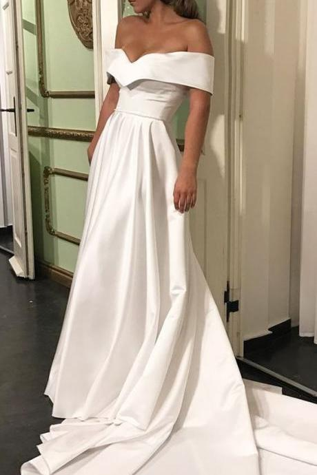 Romantic Off The Shoulder Wedding Dresses, Satin Wedding Dress, Court Train Bridal Wedding Dress, Simple Wedding Gown