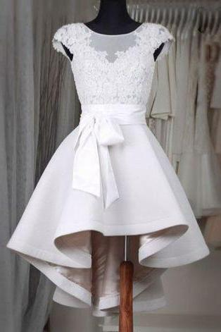 New Arrival Prom Dress,Sexy Prom Dress,Prom Dress,Simple white lace short prom dress,High low homecoming dresses