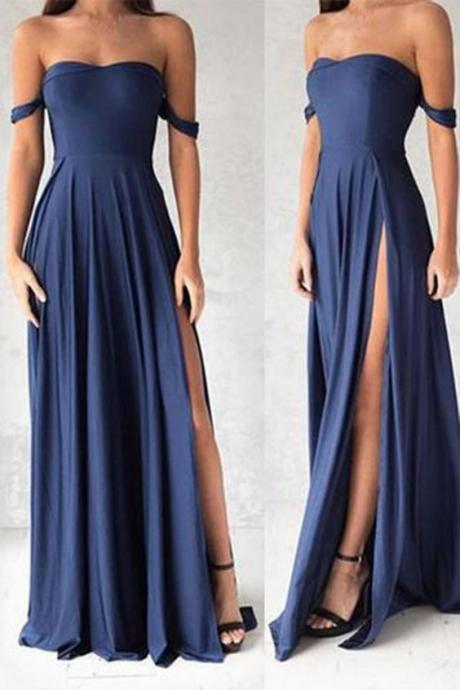 Sexy Prom Dresses, Simple Prom Dress, Charming Prom Dress,Off Shoulder Prom Dress, Side Slit Evening Dress,Prom Dresses