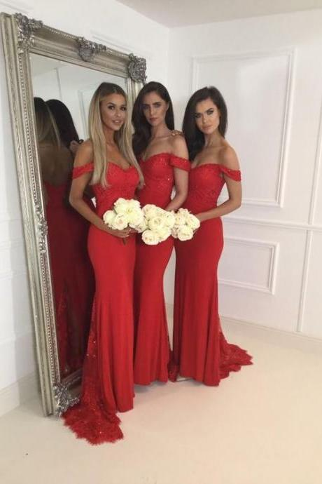 2017 Bridesmaid Dresses,Red Bridesmaid Dresses,Sexy Off Shoulder Bridesmaid Dresses,Mermaid Bridesmaid Dresses, Fashion Bridesmaid Dress, Red Prom Dress