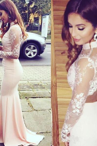 High Neck Lace Pink Prom Dress,Long Prom Dresses, Mermaid Prom Gown, Charming Prom Dress, Long Sleeves Prom Dresses
