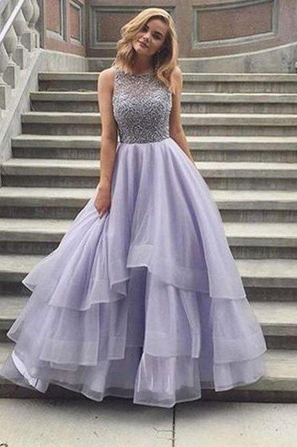 Beading Tiers Ball Gown Organza Prom Dresses 2017, Lavender Prom Dress, Beaded Prom Dress, Senior Prom Dress
