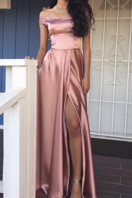 2017 Pink Long Prom Dress with Slit, Elegant Off the shoulder Long Slit Prom Dress, Evening Dress, Formal Dresses, Prom Evening Dress