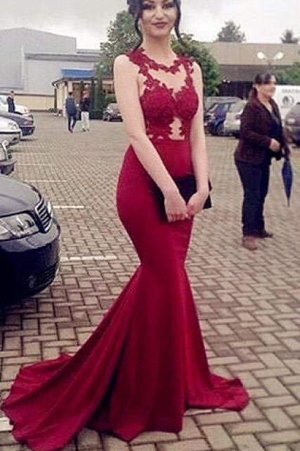 Sexy Mermaid Burgundy Prom Dress, Charming Prom Dress, Evening Gown, Long Evening Dress, Mermaid Evening Dress,Formal Prom Gowns