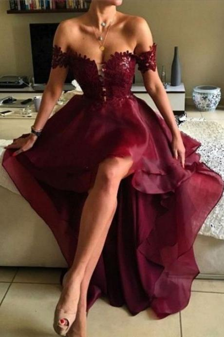 A-line Off-the-shoulder Prom Dresses, Asymmetrical Prom Dresses, Appliques Lace Backless Prom Dresses