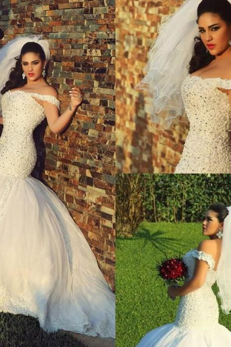 Wholesale - Charming 2015 Spring Mermaid Wedding Dresses with Crystals Pearls Appliques Tulle Wedding Dresses Custom Made Sexy vestidos de noivas