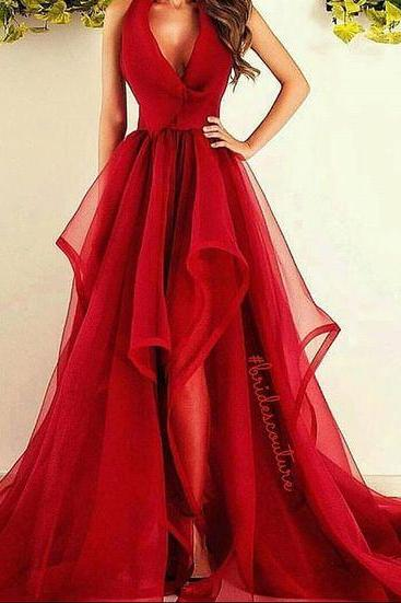 A-line Prom Gown, Ruffled Prom Dress, Prom Dress for Teens, Charming Formal Dress Beautiful Red Long Prom Dress, Sexy V Neck Prom Dress, Puffy Skirt Prom Dress
