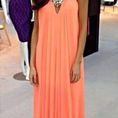A Line Prom Dresses,Coral Prom Dress,Beading Prom Gown,Simple Prom Gowns,Elegant Evening Dress,Beaded