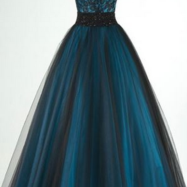 Spaghetti Straps V-neck A-line Prom Gown with Lace Bodice