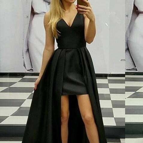 Black A-line Prom Dress Formal Dress,V-neck Prom Dress,Long Evening Dress Prom Dresses