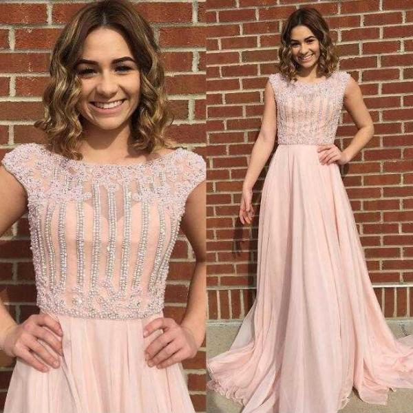 New Arrival Cap Sleeves Beaded Long Light Pear Pink Prom Dresses Evening Dresses with Beading for Women