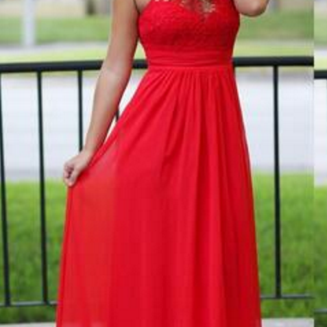 Lace Sleeveless A-line Red Long Prom Dress, Chiffon Evening Party Dress