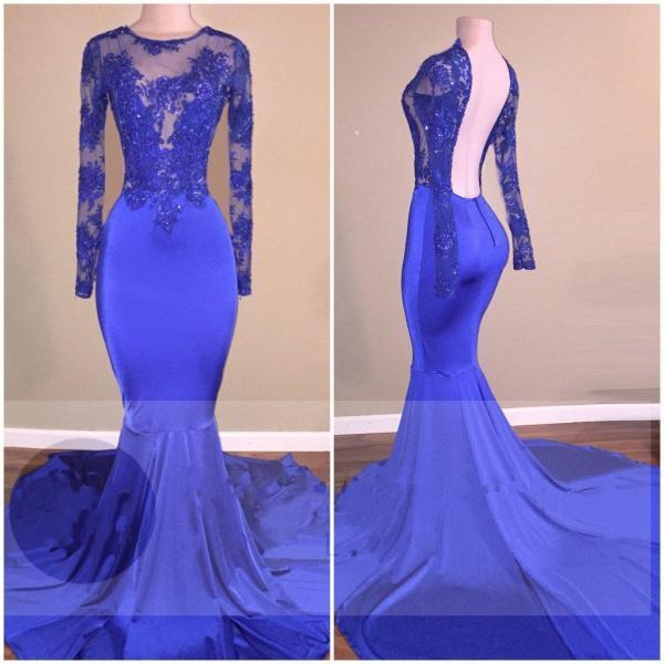 Long Sleeved Royal Blue Prom Dress with Open Back