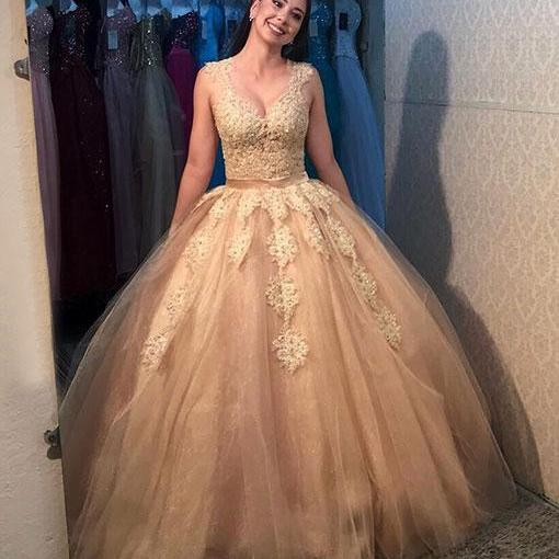 Gold Prom Dresses,Tulle Prom Gown,Long Prom Dress,Ball Gown Prom Dress,Princess Prom Dresses