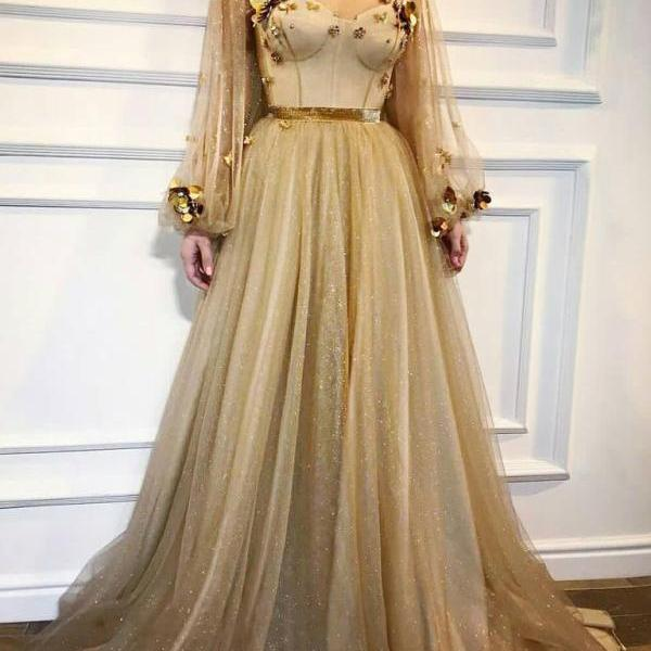 Chic Prom Dresses,A-line Prom Dress,Scoop Prom Dresses,Long Sleeve Prom Dress,Gold Prom Dresses,Long Prom Dress