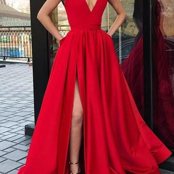 A Line V-neckline Red Prom Dress,Sexy Slit Evening Party Dress