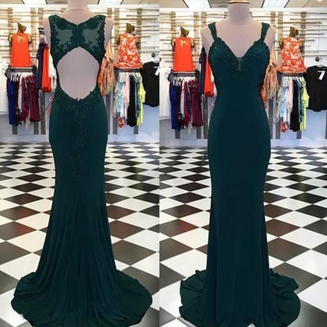 Open Back Mermaid Long Prom Dress with Applique Fashion Wedding Party Dress
