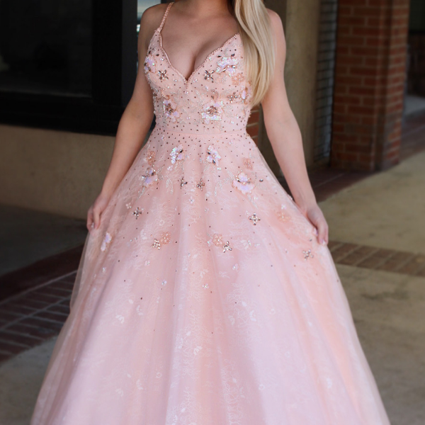 Princess Straps Pink Long Prom Dress Sweet 16 Dress