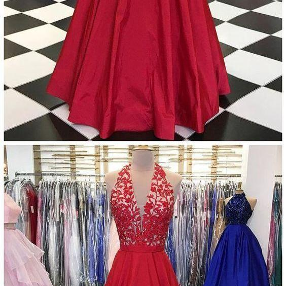 RED PROM DRESS A-LINE HALTER APPLIQUE LONG PROM DRESSES BEAUTIFUL LONG EVENING DRESS