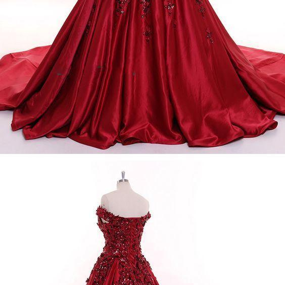 Dark Red Sequins Lace Flowers Off the Shoulder Formal Gown Women Wedding Dresses