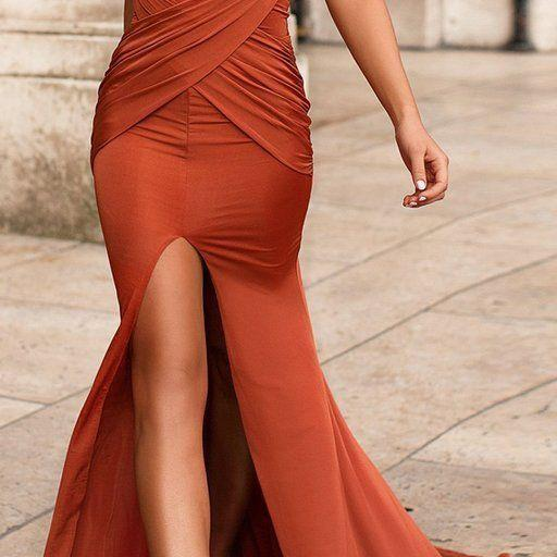 Sexy Mermaid Slit Backless Sleeveless Pleated Prom Dresses