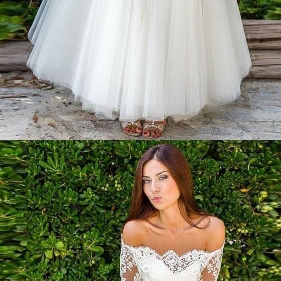 Elegant Half Sleeve Tulle Lace Wedding Dress Bridal Gown