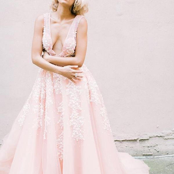 Plunging V-neck Pearls Pink Wedding Dresses with Appliques