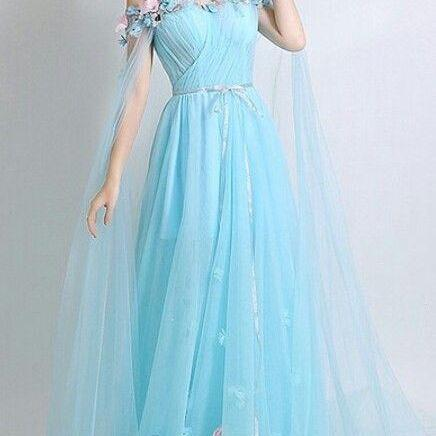 slash neck tulle long prom dress, off shoulder evening dress,floor length prom gowns, 3D Flower Applique party dress