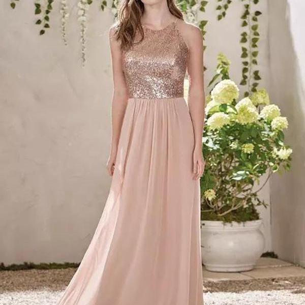 Rose Gold A Line Spaghetti Backless Bridesmaid Dresses,Sequins Chiffon Cheap Beach Wedding Gust Dress Maid of Honor Gowns