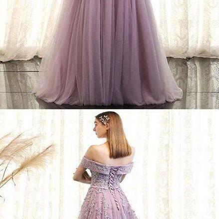 A-Line Off Shoulder Prom Dresses, Tulle Long Prom Dresses With Appliques,Elegant Purple Party dresses