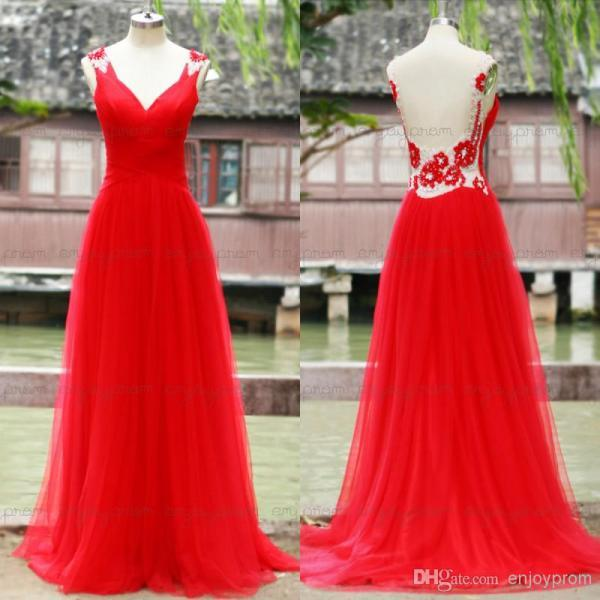 2015 sfani Top Selling Real Image Prom Dress,Fabulous Red Tulle V-neck Sexy Backless Shining Crystals and Rhinestones A-line Evening Dress