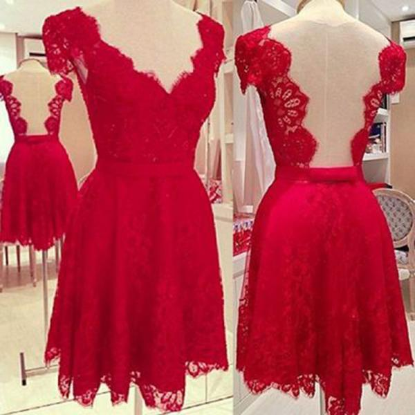 Cap Sleeve Short Lace Backless Homecoming Dresses Lace Party Dresses