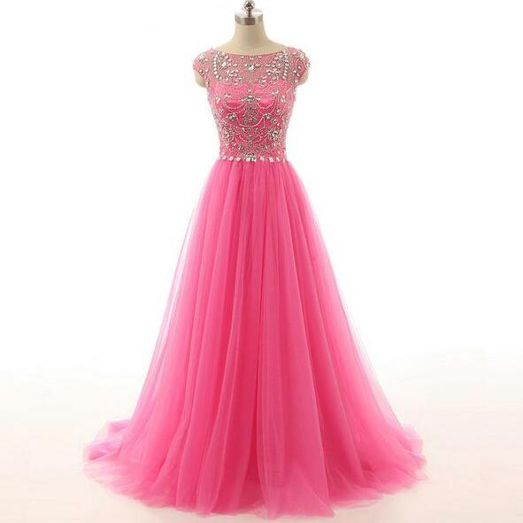 Cap Sleeves Long Tulle Prom Dresses Crystals Beaded Party Dresses Floor Length