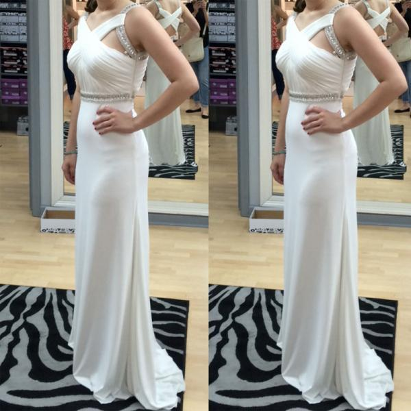 Elegant Chiffon Prom Dresses Beaded Pleat Party Dresses Floor Length