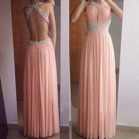 Halter Neck Long Chiffon Prom Dresses Crystals Party Dresses Women Dresses