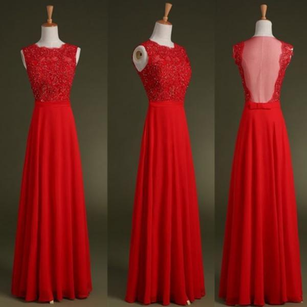 New Style Sexy Red Prom Dress,See Through Prom Gowns, Chiffon Prom Gowns,Long Evening Dress,Charming Party Dress,Red Graduation,Backless Evening Dress