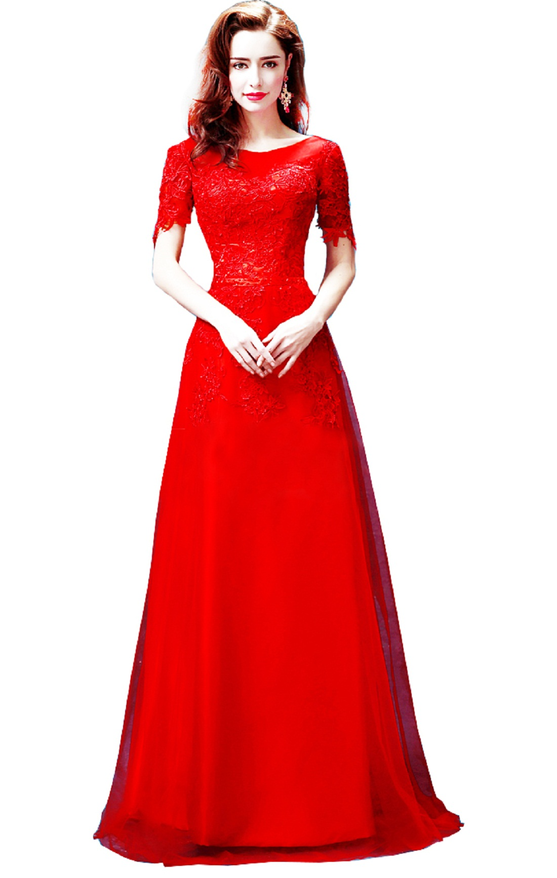 Red Lace Bridesmaid Dress Party Dress Cocktail Dress Set